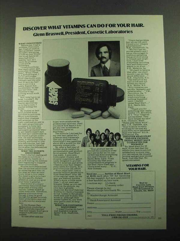 1976 Head Start Vitamin Ad - Discover Vitamins for Hair
