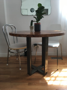 Walnut table and steel foot, 300$. Don't miss out!!