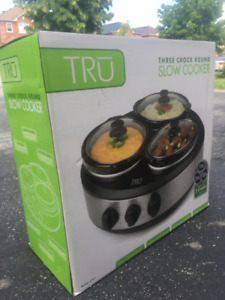 Three Crock Round Slow Cooker - Brand New in Box!