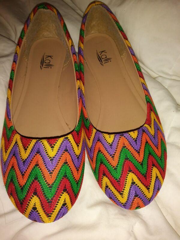 Kalli Size 8 Multicolor Woven Ballet Flats
