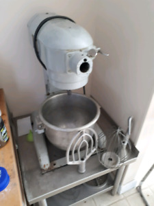 12 qt Hobart mixer with pelican slicer and meat grinder