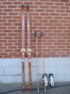 Cross Country Skis; Poles; Boots & Pine Tar.