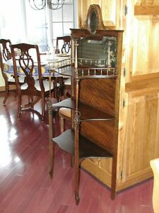 Antique Flaming Mahogany Curio Stand