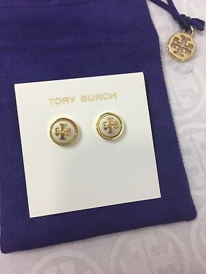 NWT Tory Burch Melodie Stud Earrings # 11145528 Ivory color