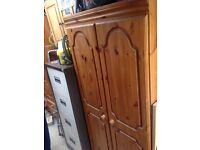 Two wardrobes pine solid wood with matching drawers