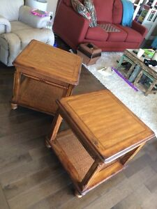 Solid Wood end tables with rattan accent