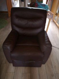 Electric rise and recline faux brown leather arm chair
