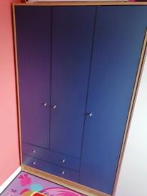 3 door blue wardrobe