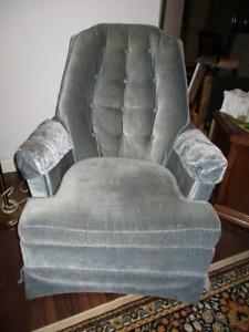 swivel ,  rocker , velvet,   chair  in good condition