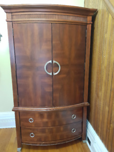 Curved Front Cherry Wood TV Cabinet or Armoire