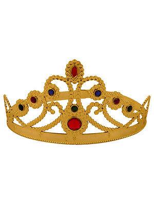 Royal Gold Tiara Crown Adult New Fancy Dress Ladies Medieval Queen Princess