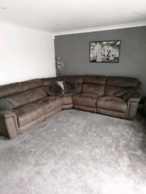 Grey 7 seater sofa + chair with x3 electric recliners