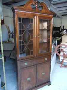 1930's solid wood corner china cabinet in good cond