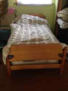 Solid Maple hardwood single bed with mattress, boxspring, frame