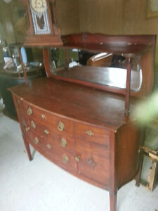 nice flamed birch sideboard with mirror missing one small handle