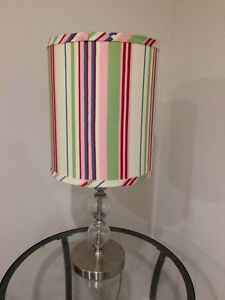 Glass/Metal Lamp with Striped Shade