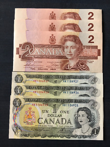 2 Sets of 1973 & 1986 Consecutive Serial Numbers - Crisps & UNC