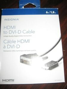 Insignia 1.8m (6 ft) HDMI D to DVI Cable. NEW