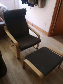 IKEA POÄNG chair and matching footstool set