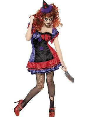 Bo Bo The Clown Costume Small Sinister HALLOWEEN CLEARANCE Ladies Fancy Dress