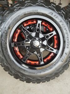 4 MAYHEM RIMS WITH NEW BFG ALL TERRAIN T/A KO/2 LT275/65/18