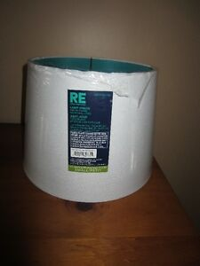 SMALL WHITE FABRIC LAMP SHADE WITH TEAL LINER - NEW!