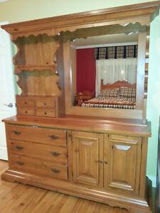 Mobilier de chambre 5 morceaux en bois de pin massif
