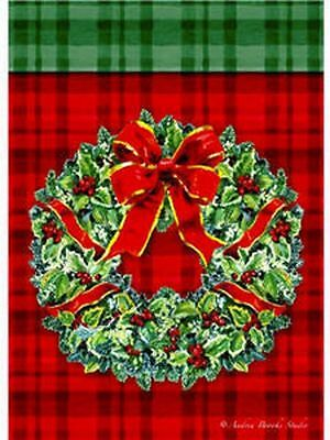 "Plaid Wreath Christmas Garden Flag Holiday Yard Banner Evergreen 12.5"" x 18"""