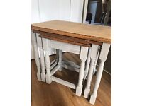 Up Cycled Solid Oak Nest of Tables/Coffee Tables