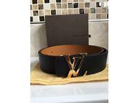 Brand New Men's Louis Vuitton Authentic LV Initiales 40MM Reversible Belt Black & Tan