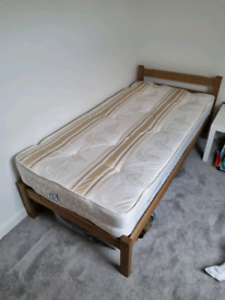 NEW SINGLE BED WOODEN FRAME + MATTRESS