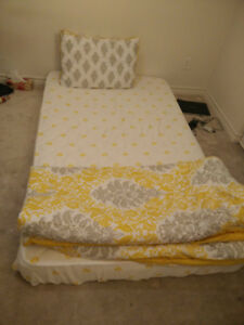 Orthopedic Twin size mattress+ 2 Quilts+ 2 Pillows+1 night stand