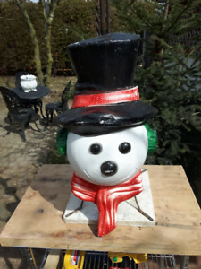 Snowman face blow mold
