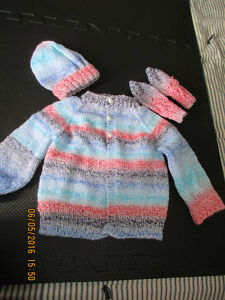hand knit baby sweater, hat and mitts London Ontario image 1