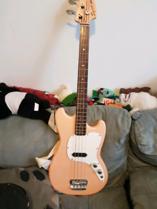 Pink 1997 Squier by Fender Musicmaster Electric Bass Guitar (rar