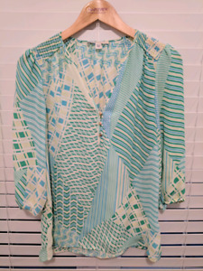 Banana Repulic mint and blue blouse