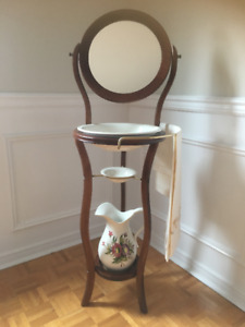 Vintage Wash Basin and Pitcher Stand with Mirror