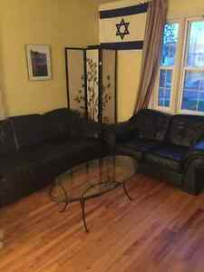 Premium leather couch and love seat with a glass table Regina Regina Area image 4