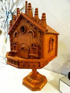 "BIRDHOUSE handcrafted BEAUTIFUL 24""H large UNUSED bird lovers!"