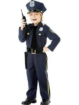 Child Police Officer Uniform US Cop Age 4-10 Boys Kids Fancy Dress Costume