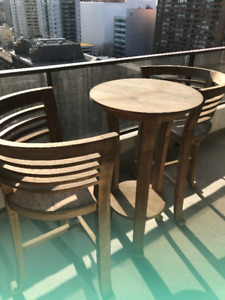 Teak High Top Patio Table and 2 Chairs