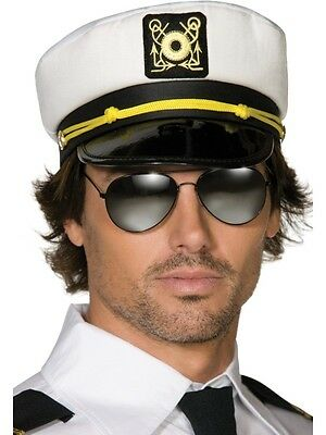 Adult Sailor Hat Navy Ship Captain Cap White Gold Boat Captains Mens Womens NEW
