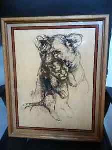 """Lioness with Cub"" Reverse Glass Painting by Verily Hammons"