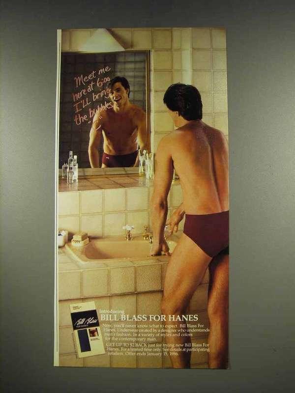 1986 Bill Blass for Hanes Underwear Ad