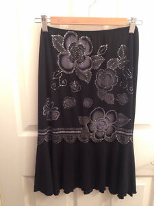 Black Floral Print Stretch Skirt