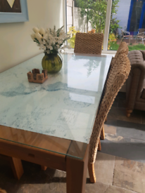 Beautiful oakwood extendable dining table with chairs and bench