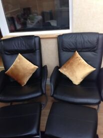 Leather recliner chairs with foot stools- just one remain.delivery included