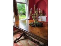 Beautiful antique style double pedestal dining table huge with beautiful detail