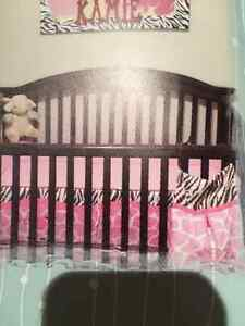 brown crib set with changing table/dresser