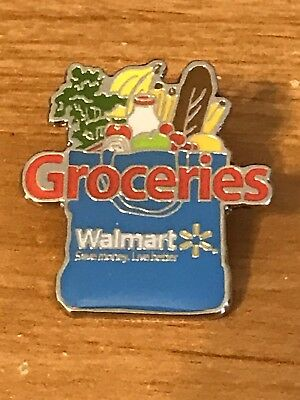 Rare Walmart Lapel Pin Grocery Department Groceries Bag Food Wal Mart Pinback